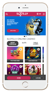 Slots.lv's mobile version work perfectly well with a smartphone or tablet